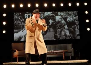 "Lauria rallies the troops as only Green Bay Packers coach Vince Lombardi in play ""Lombardi.""  Credit: Joan Marcus"